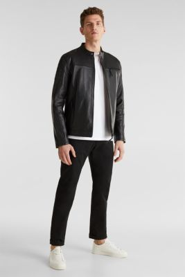 Leather biker jacket, BLACK, detail