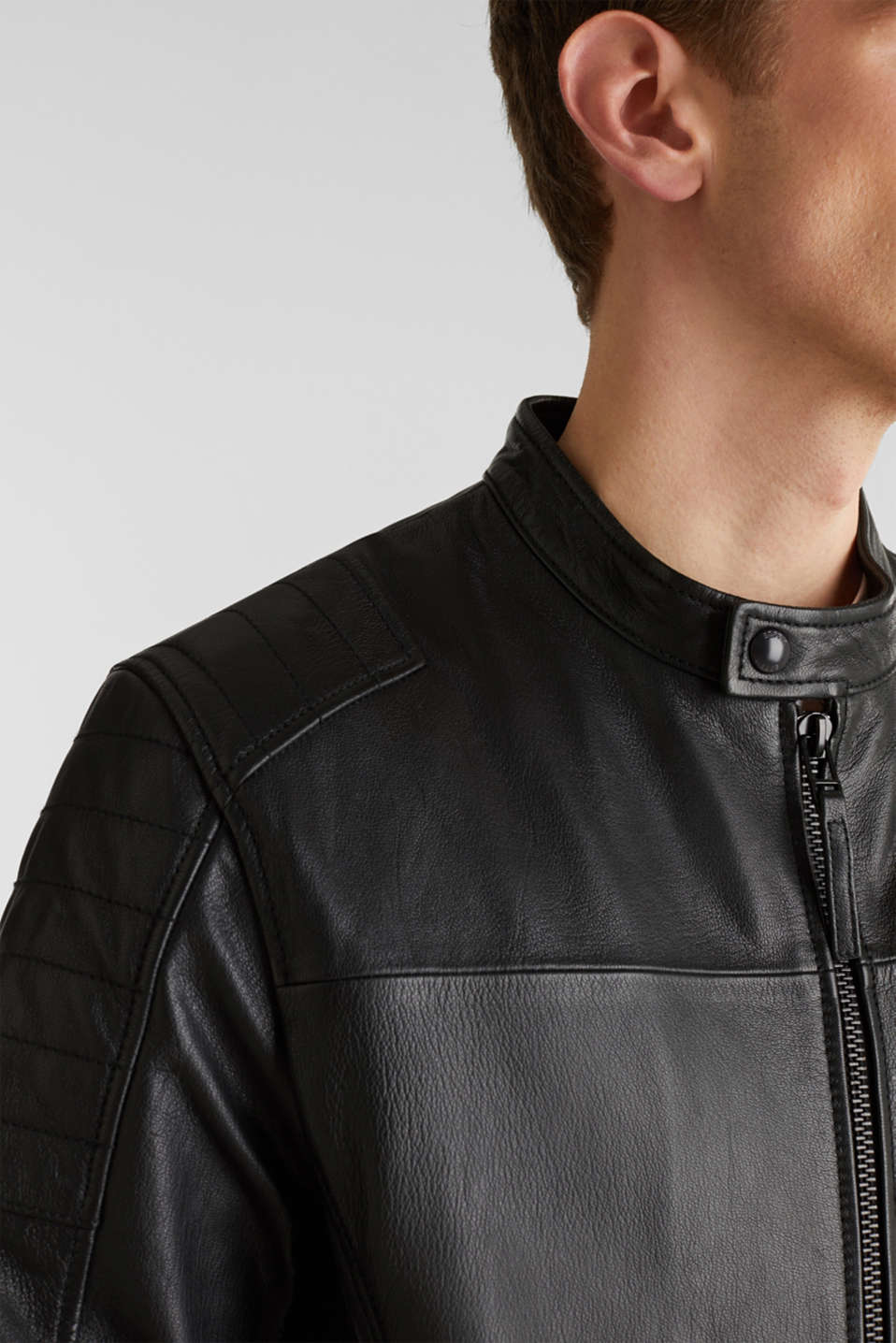 Leather biker jacket, BLACK, detail image number 2