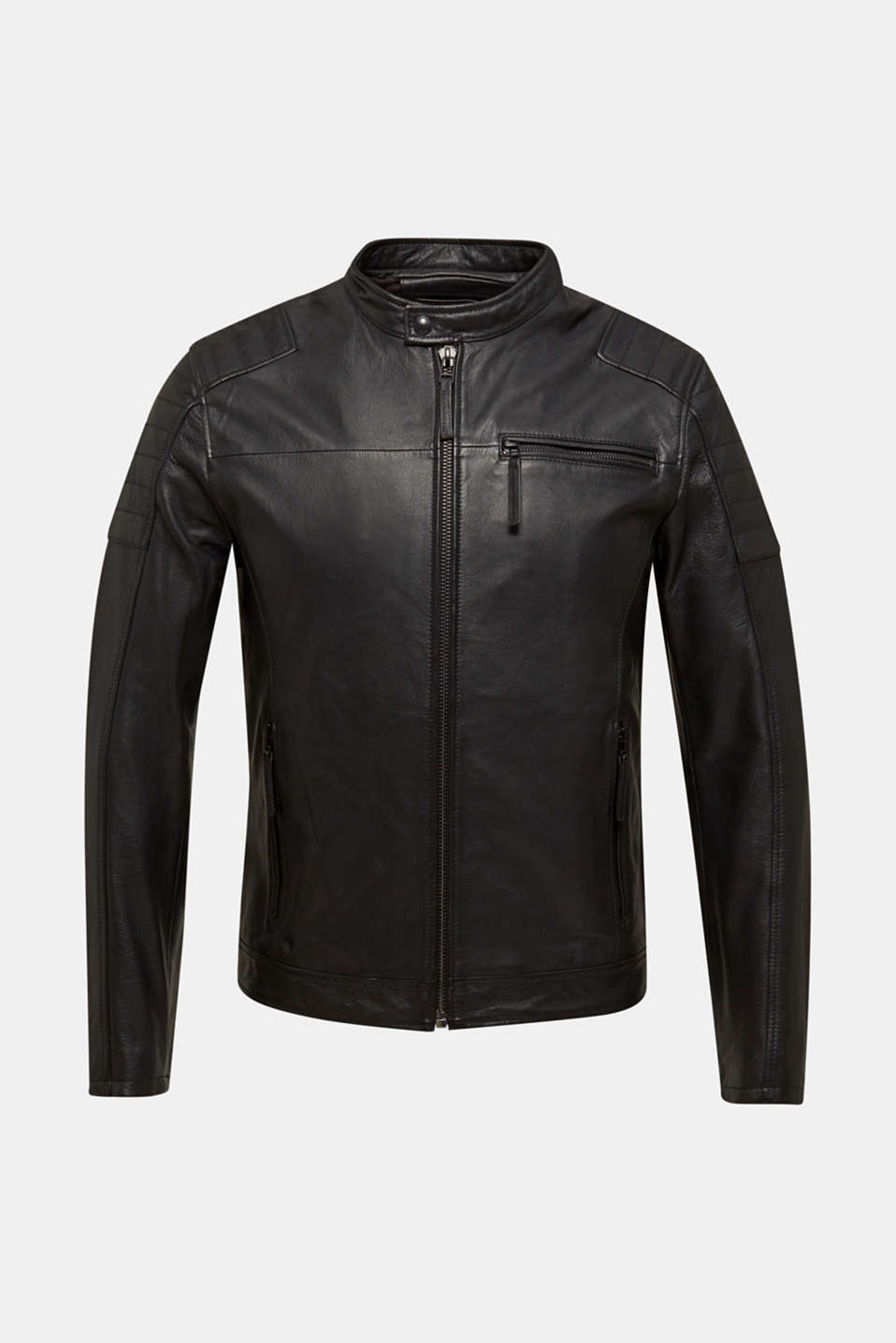 Leather biker jacket, BLACK, detail image number 6