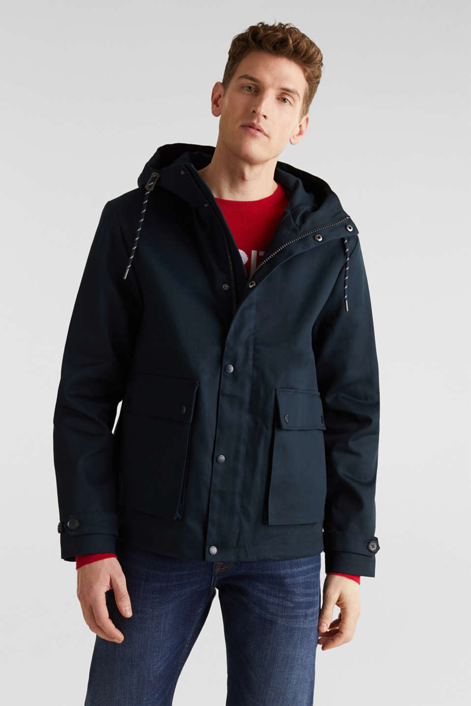 Esprit - Hooded jacket made of 100% cotton