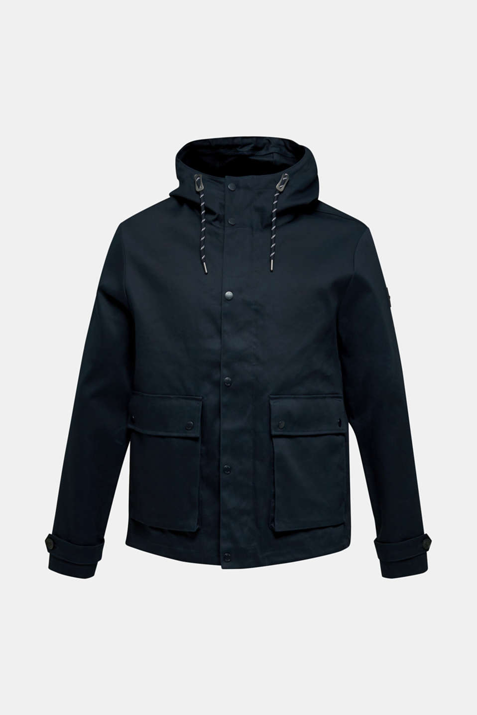 Hooded jacket made of 100% cotton, DARK BLUE, detail image number 7