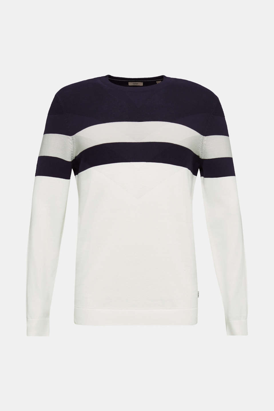 Jumper with a textured pattern, 100% cotton, OFF WHITE 3, detail image number 7