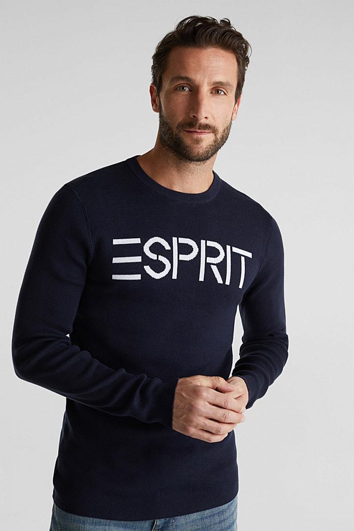Logo-Sweater aus 100% Baumwolle, NAVY, detail image number 0