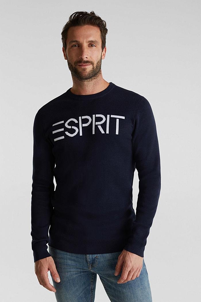 Logo-Sweater aus 100% Baumwolle, NAVY, detail image number 6