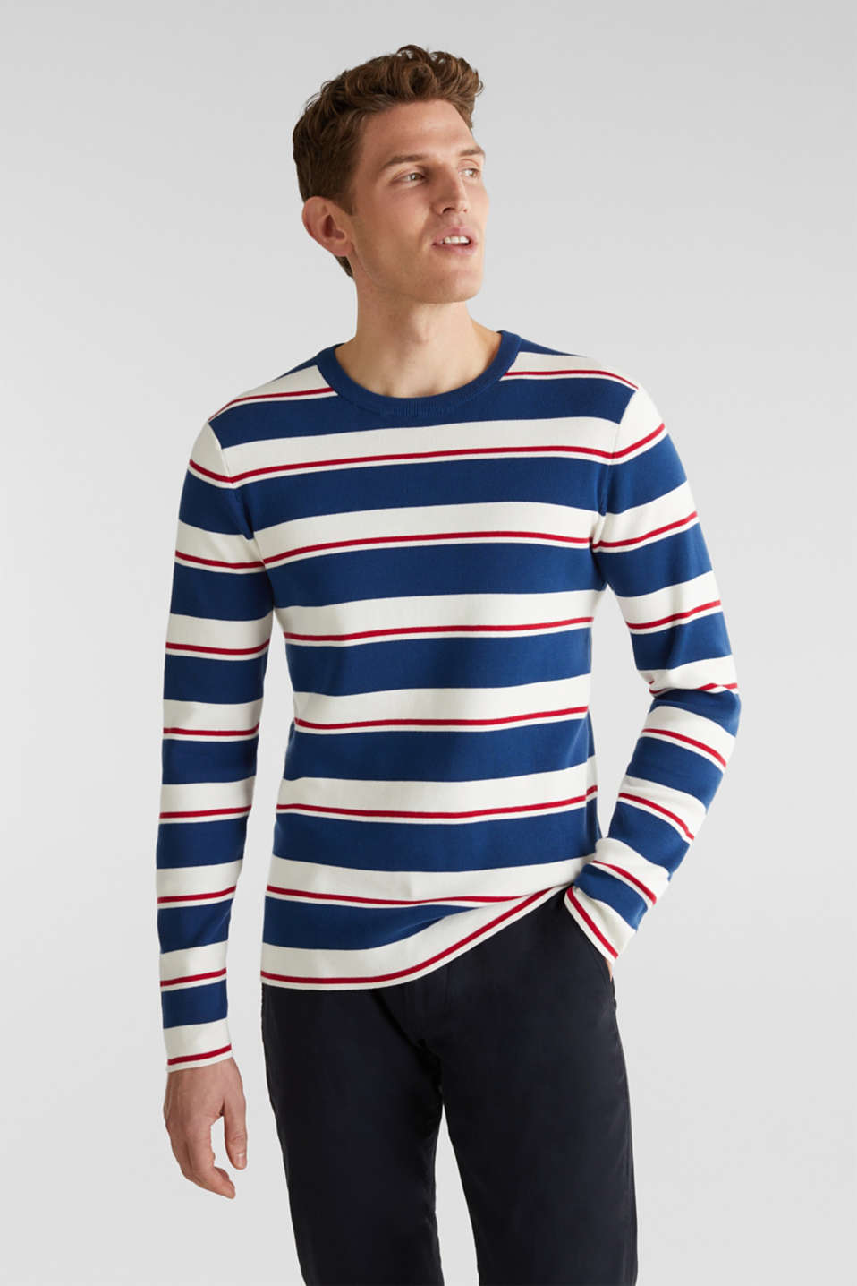 Striped sweatshirt in 100% cotton, BLUE 3, detail image number 0