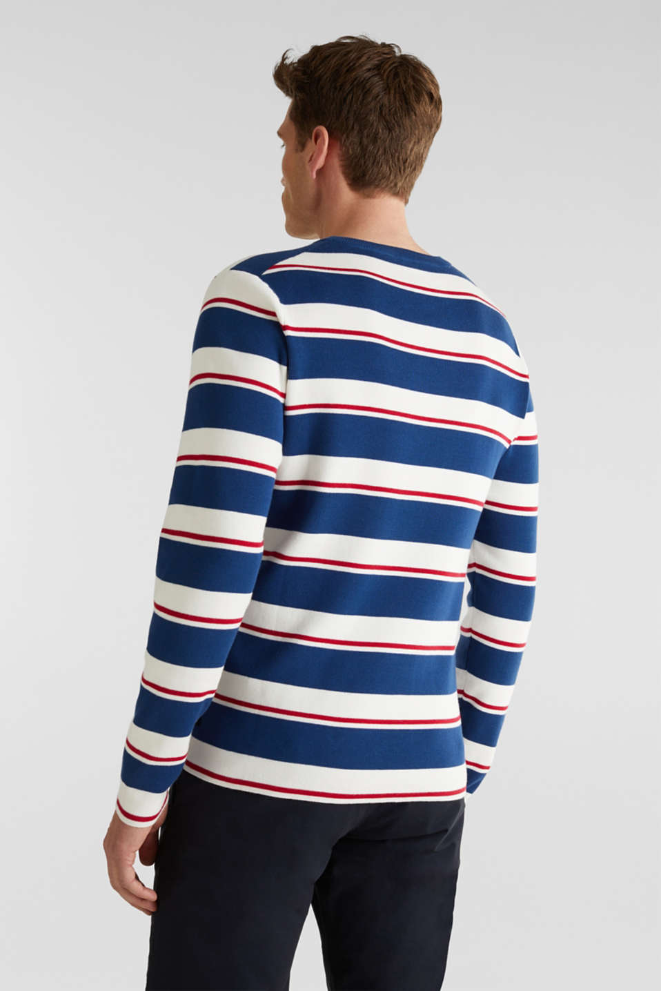 Striped sweatshirt in 100% cotton, BLUE 3, detail image number 2