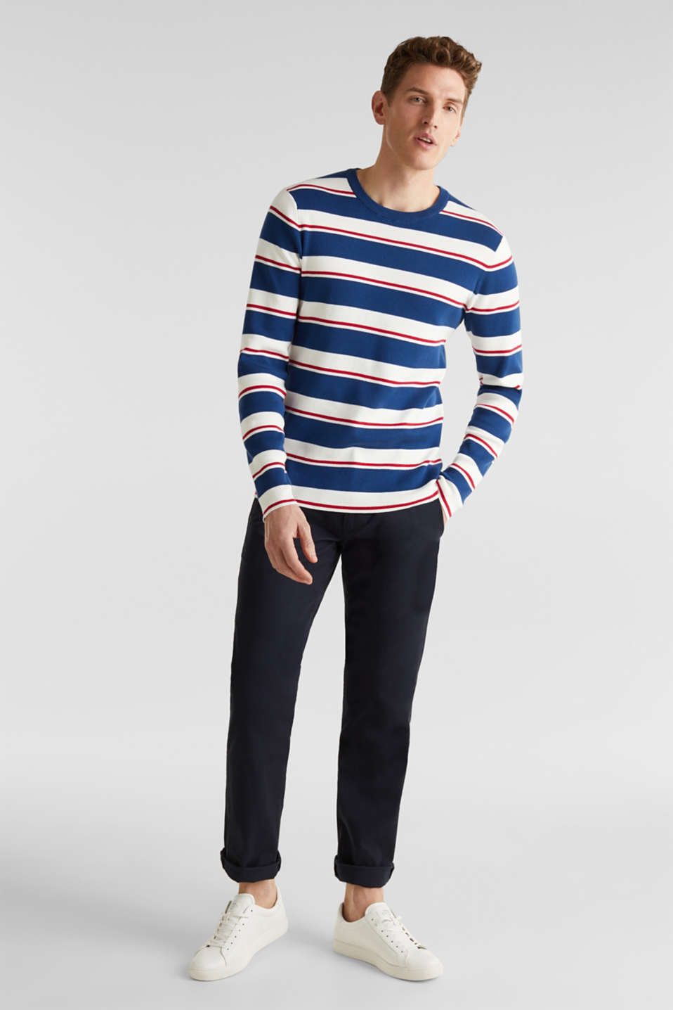Striped sweatshirt in 100% cotton, BLUE 3, detail