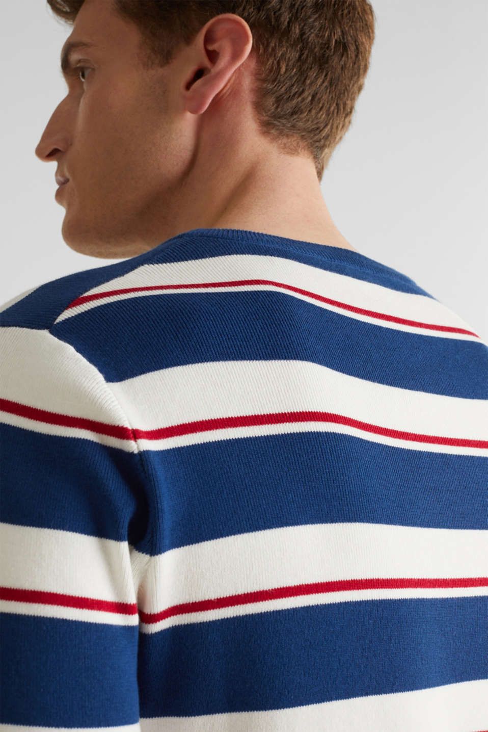 Striped sweatshirt in 100% cotton, BLUE 3, detail image number 5