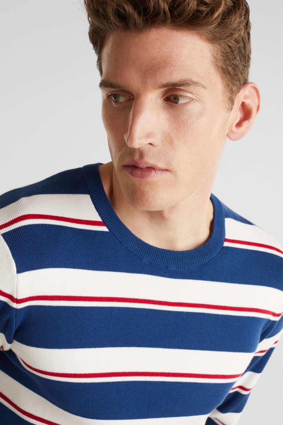 Striped sweatshirt in 100% cotton, BLUE 3, detail image number 4