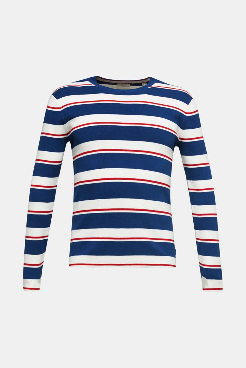 Striped sweatshirt in 100% cotton, BLUE 3, detail image number 6