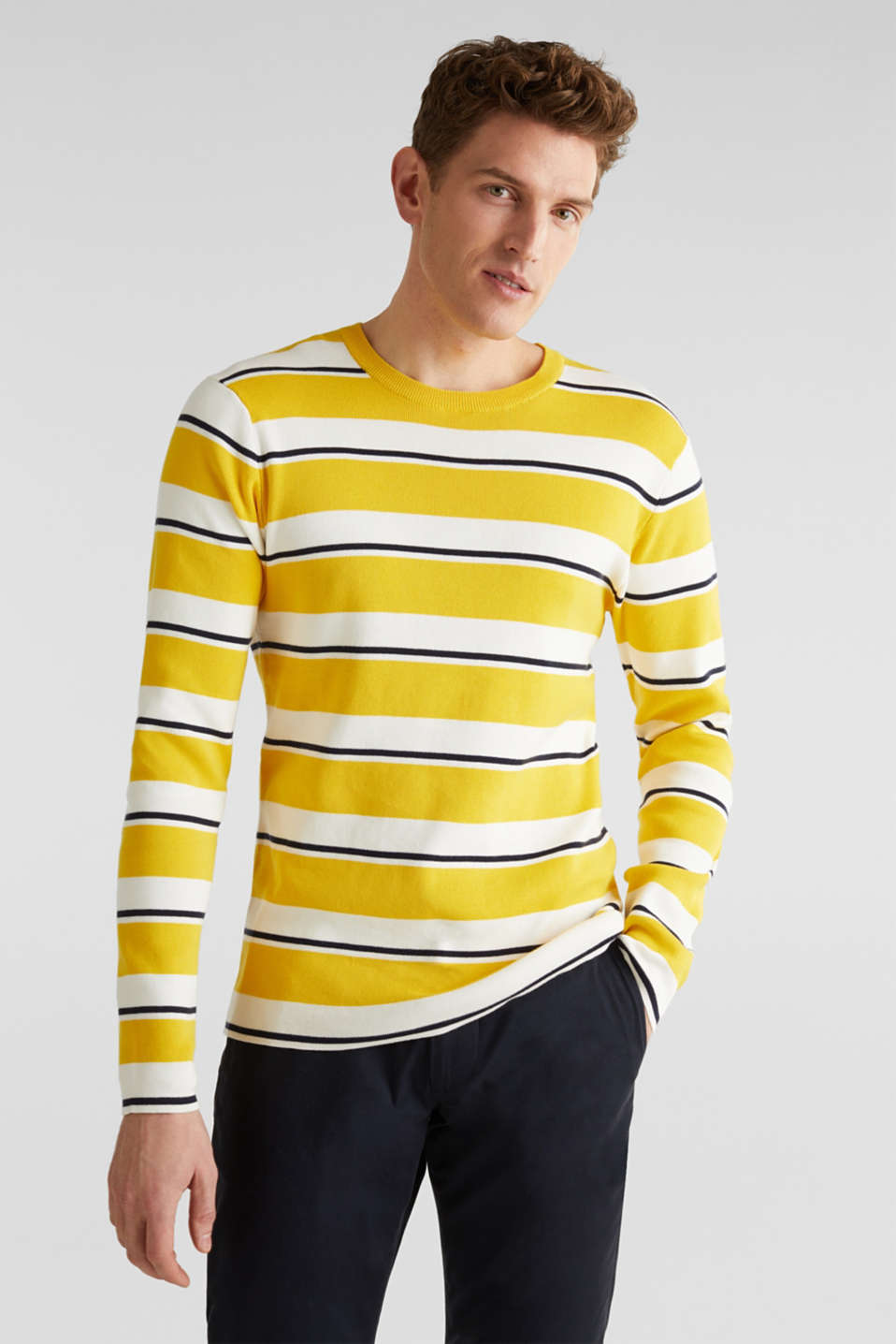 Striped sweatshirt in 100% cotton, YELLOW 3, detail image number 0