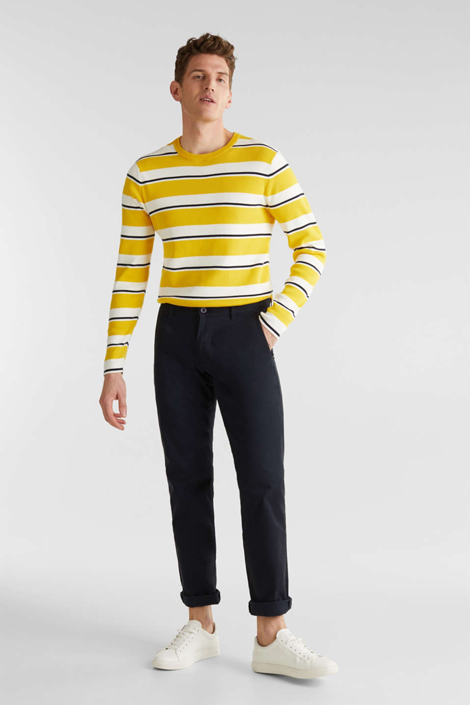 Striped sweatshirt in 100% cotton, YELLOW 3, detail image number 1