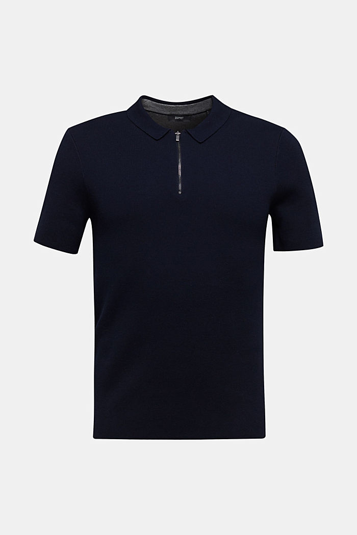 Kurzarm-Pullover aus Strick, NAVY, detail image number 0