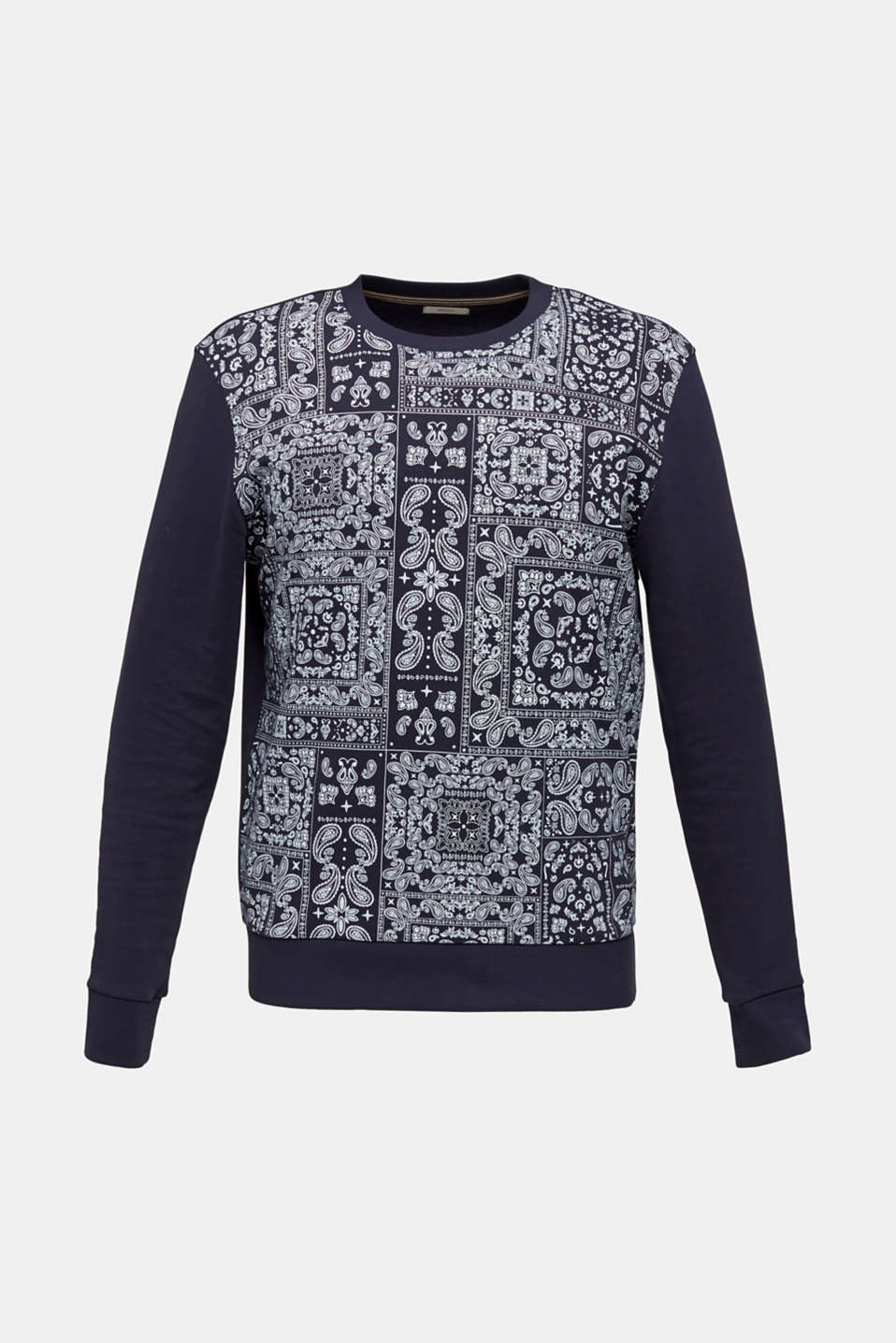 Bandana print sweatshirt, 100% cotton, NAVY 4, detail image number 6