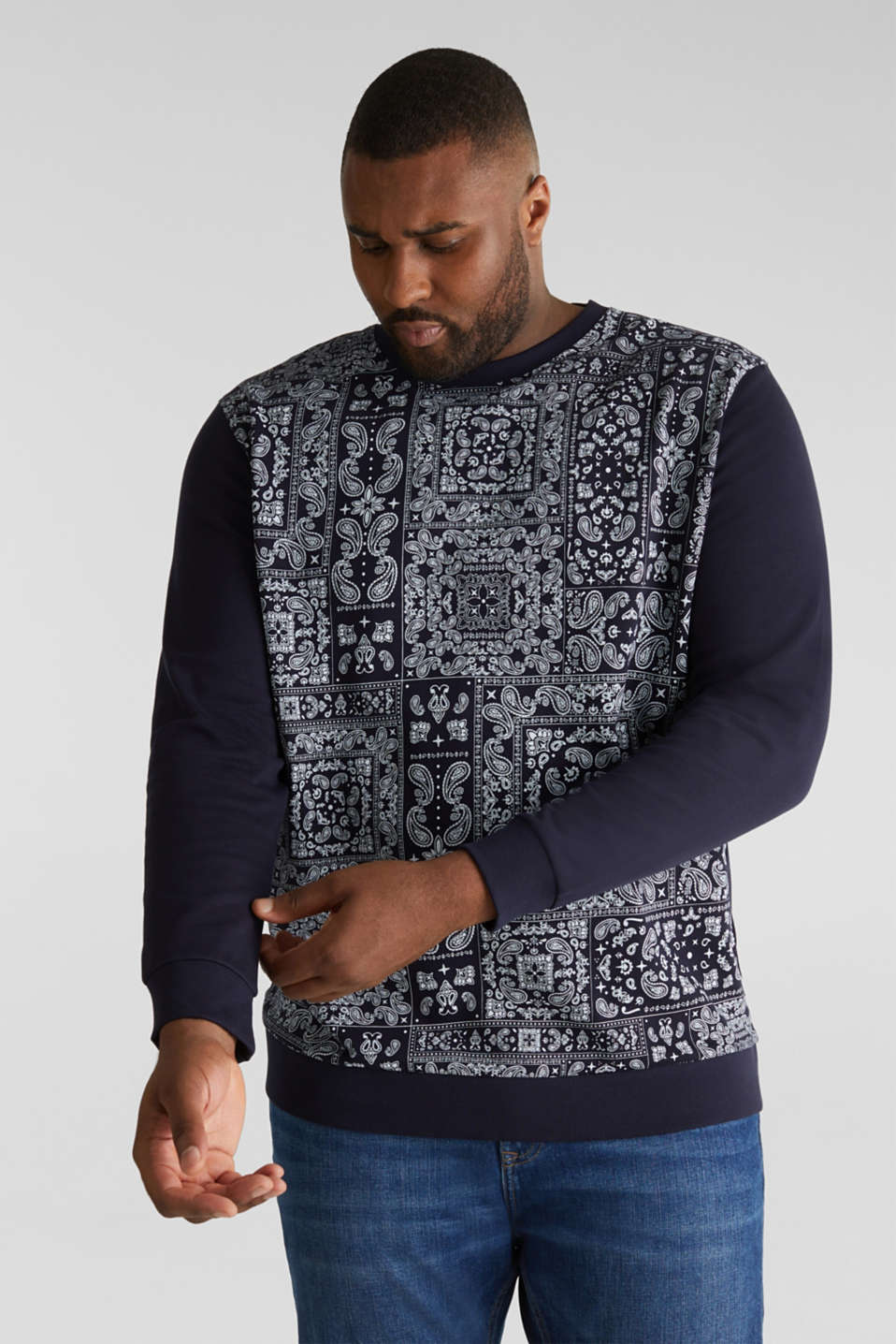 Bandana print sweatshirt, 100% cotton, NAVY 4, detail image number 4