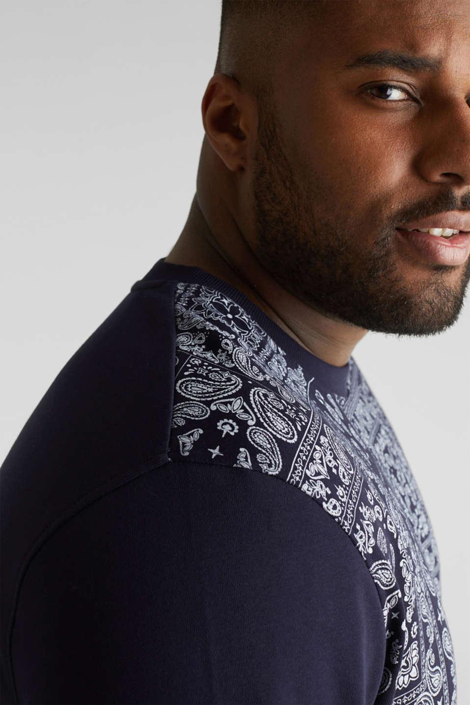 Bandana print sweatshirt, 100% cotton, NAVY 4, detail image number 2