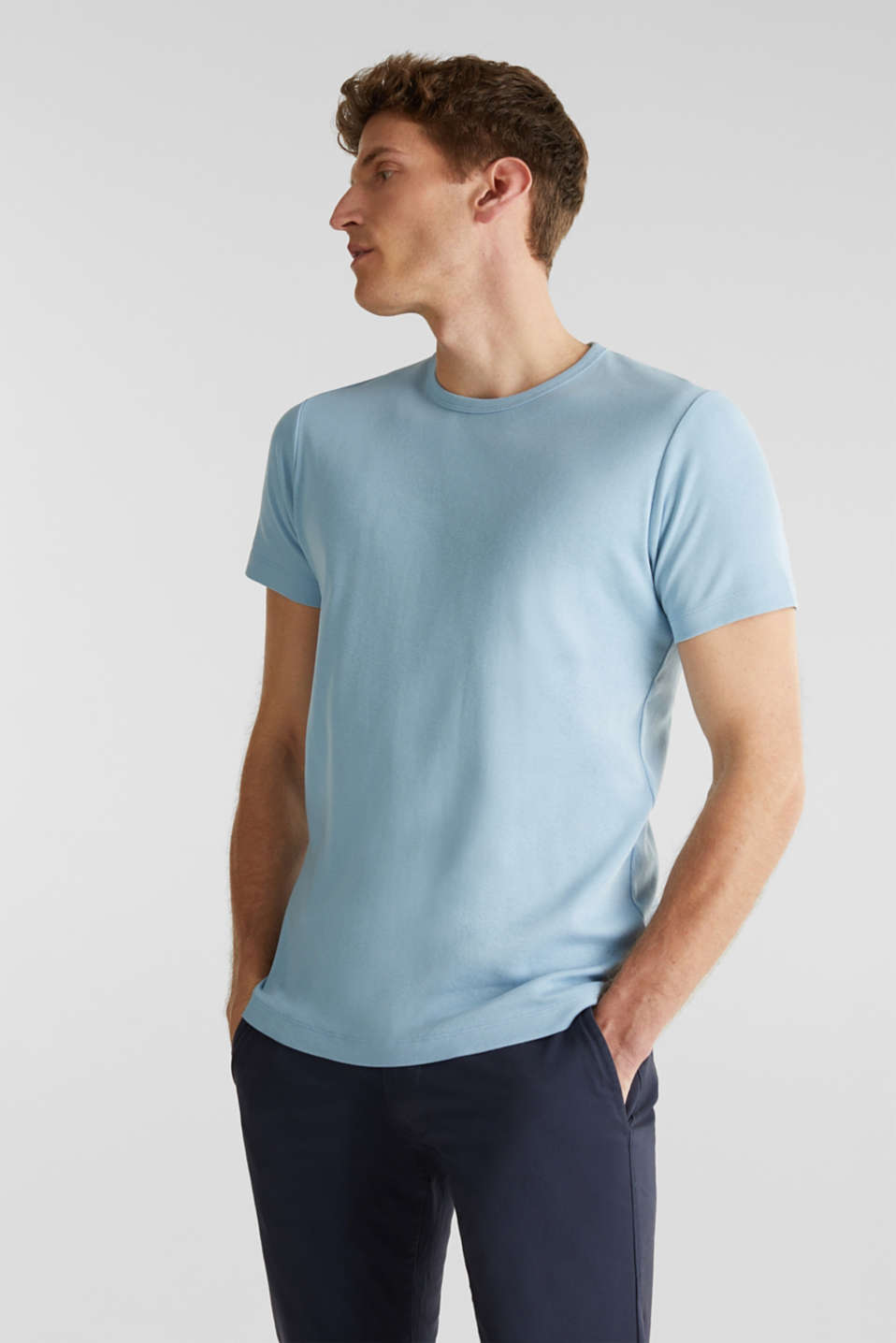Ribbed jersey top made of 100% cotton, LIGHT BLUE, detail image number 0