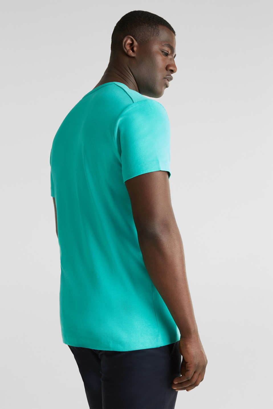 Ribbed jersey top made of 100% cotton, LIGHT TURQUOISE, detail image number 3