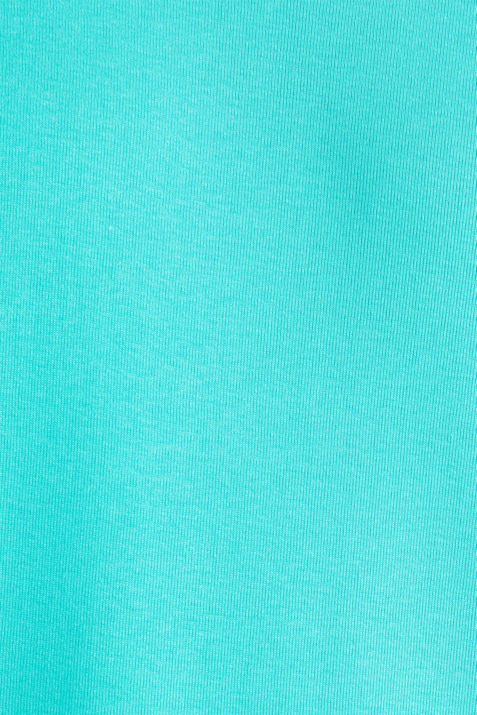 Ribbed jersey top made of 100% cotton, LIGHT TURQUOISE, detail image number 4
