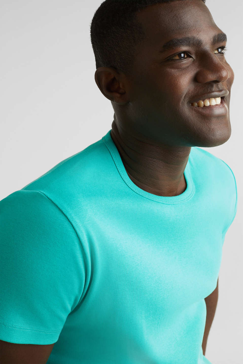 Ribbed jersey top made of 100% cotton, LIGHT TURQUOISE, detail image number 5