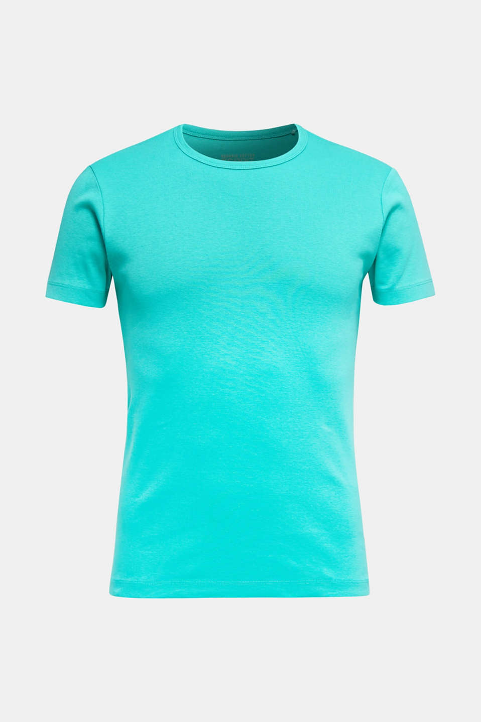 Ribbed jersey top made of 100% cotton, LIGHT TURQUOISE, detail image number 7
