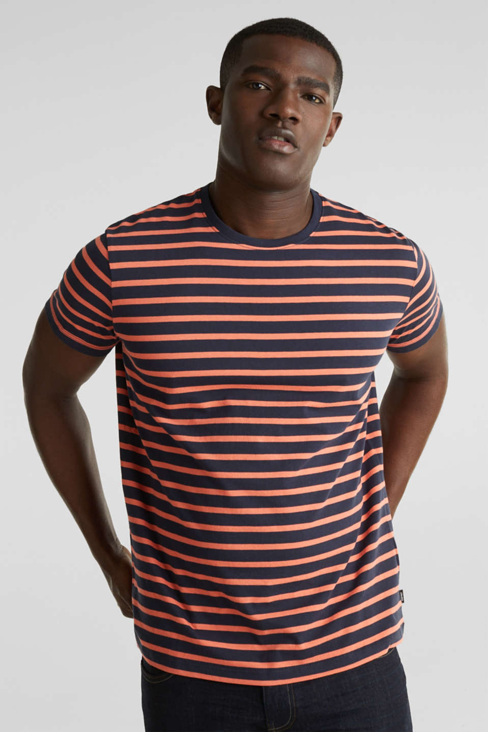 Striped jersey top, cotton, NAVY 3, detail image number 0
