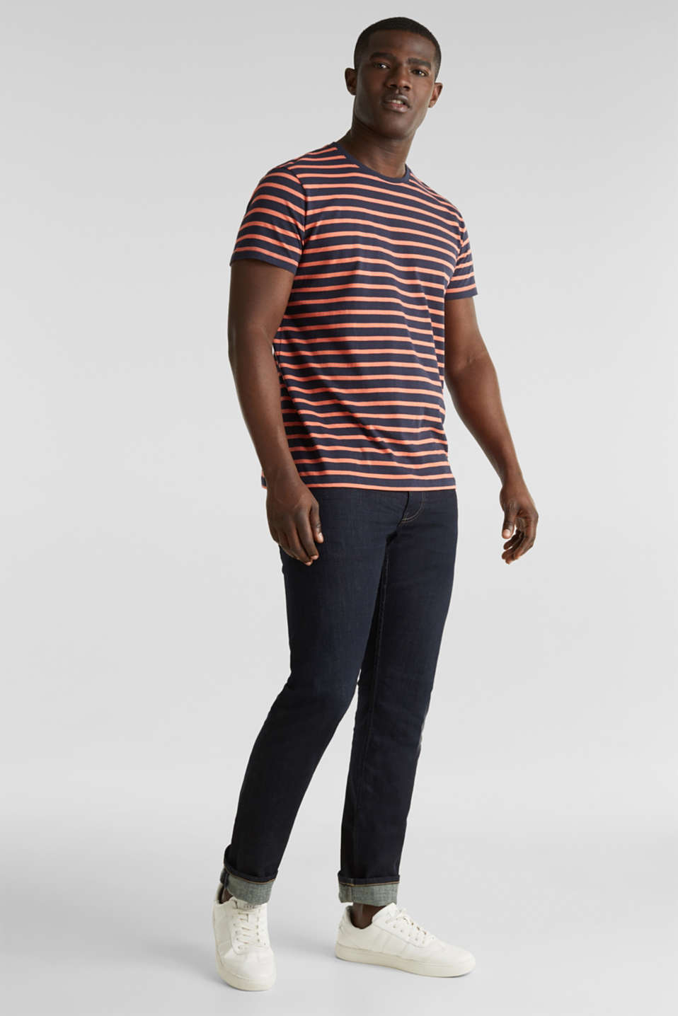 Striped jersey top, cotton, NAVY 3, detail image number 6