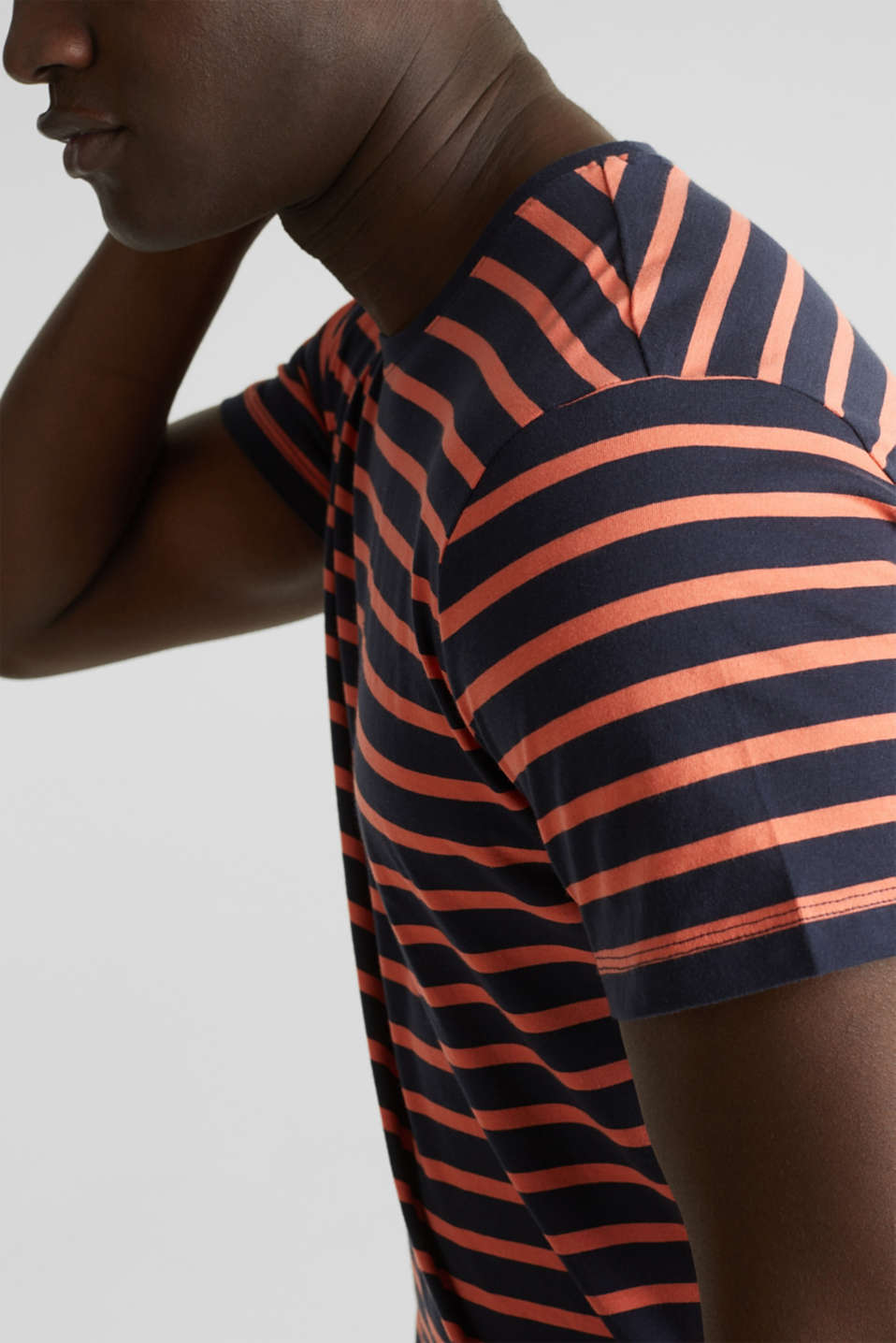 Striped jersey top, cotton, NAVY 3, detail image number 1