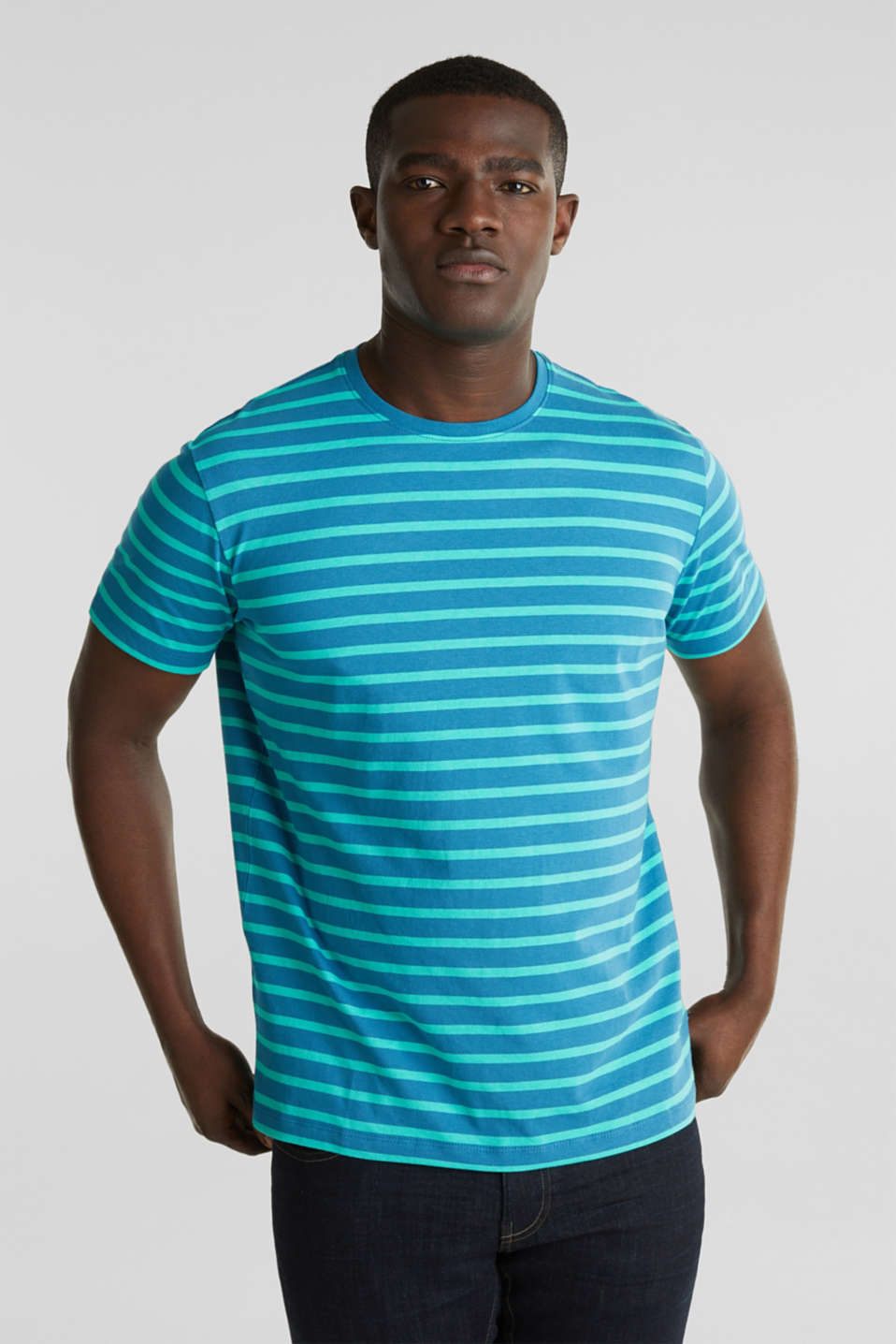 Jersey T-shirt with stripes, 100% cotton, PETROL BLUE 3, detail image number 0