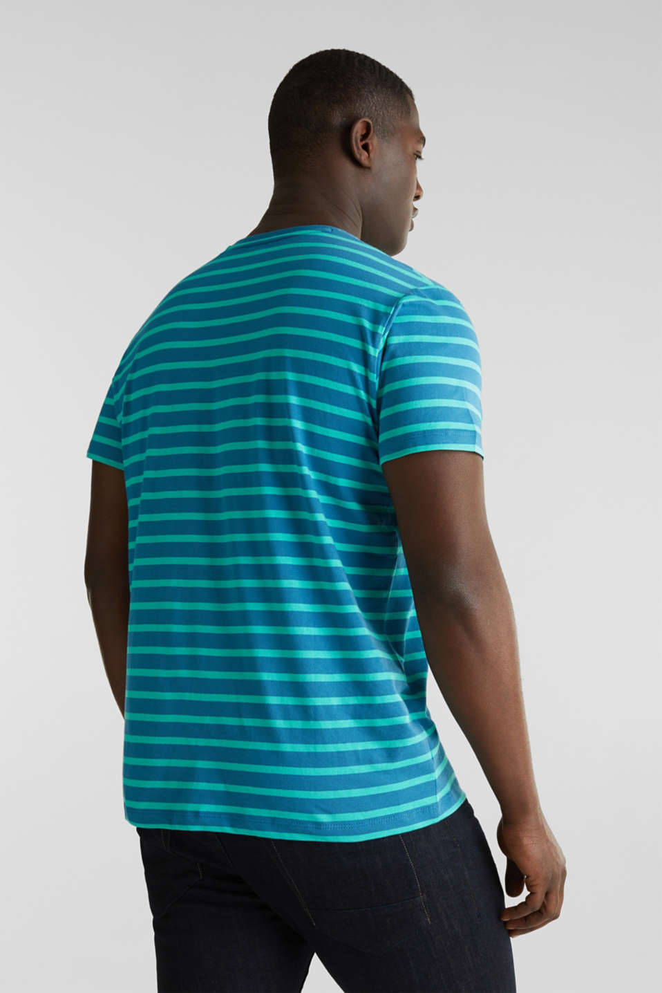 Jersey T-shirt with stripes, 100% cotton, PETROL BLUE 3, detail image number 3