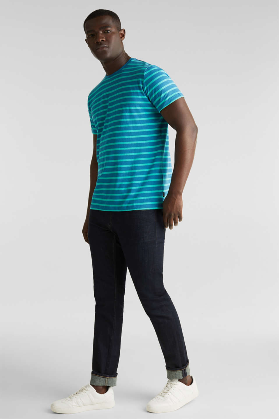 Jersey T-shirt with stripes, 100% cotton, PETROL BLUE 3, detail image number 6