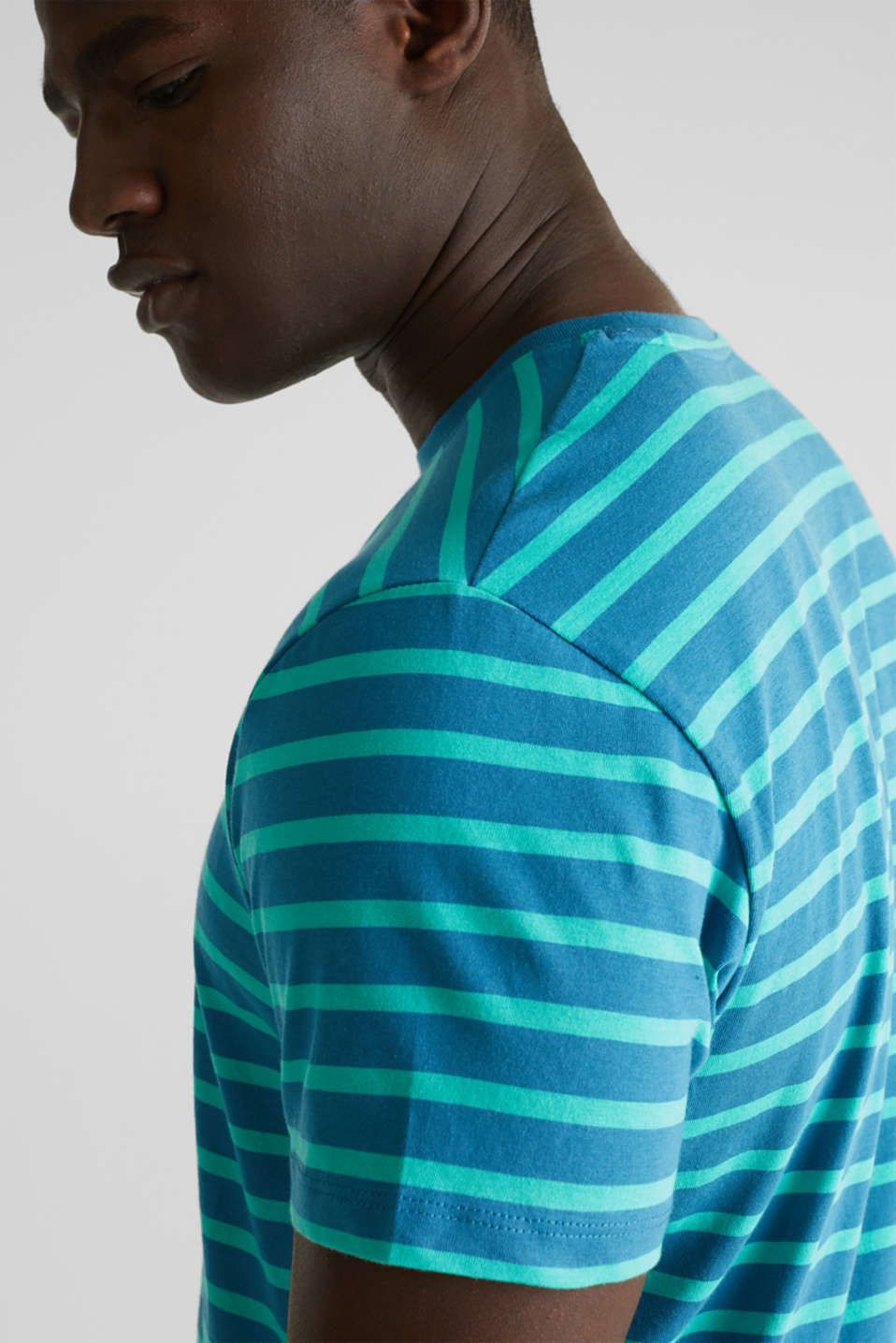 Jersey T-shirt with stripes, 100% cotton, PETROL BLUE 3, detail image number 1