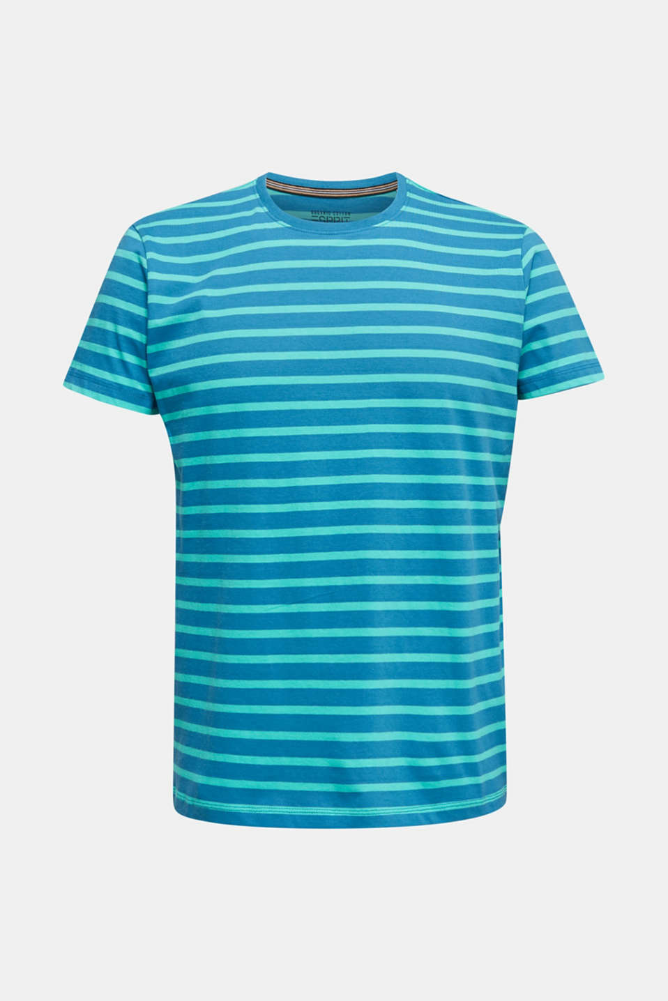 Jersey T-shirt with stripes, 100% cotton, PETROL BLUE 3, detail image number 7