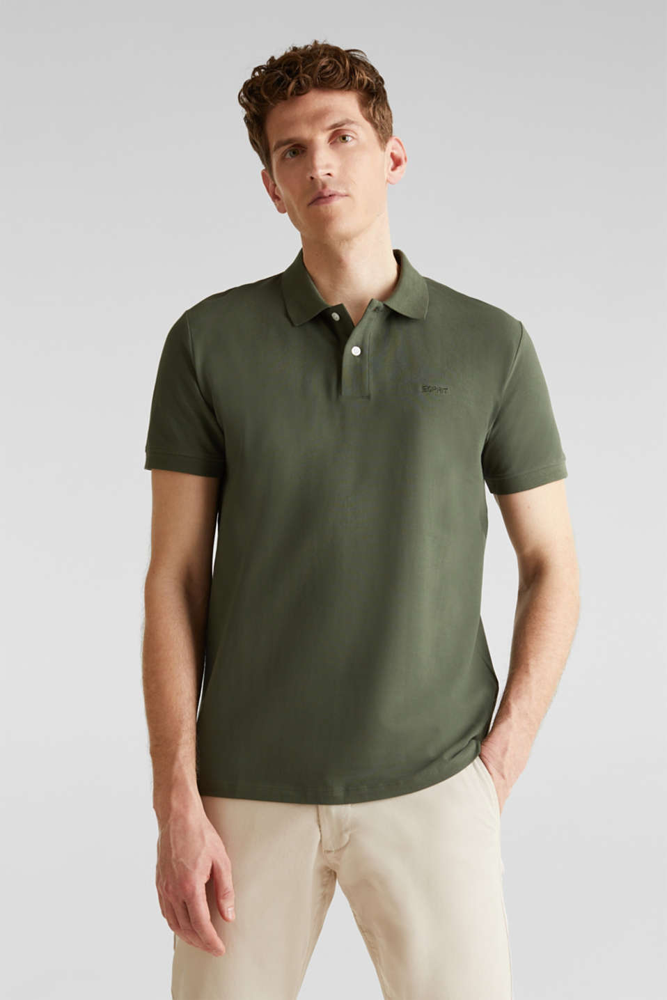 Piqué polo shirt, 100% organic cotton, KHAKI GREEN, detail image number 0