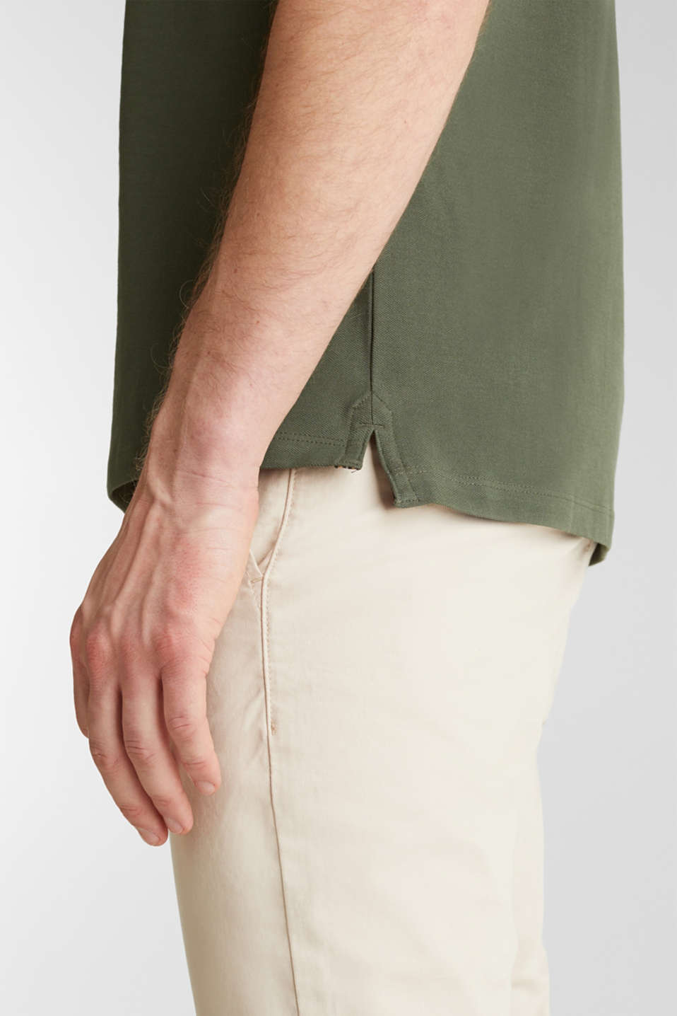 Piqué polo shirt, 100% organic cotton, KHAKI GREEN, detail image number 5