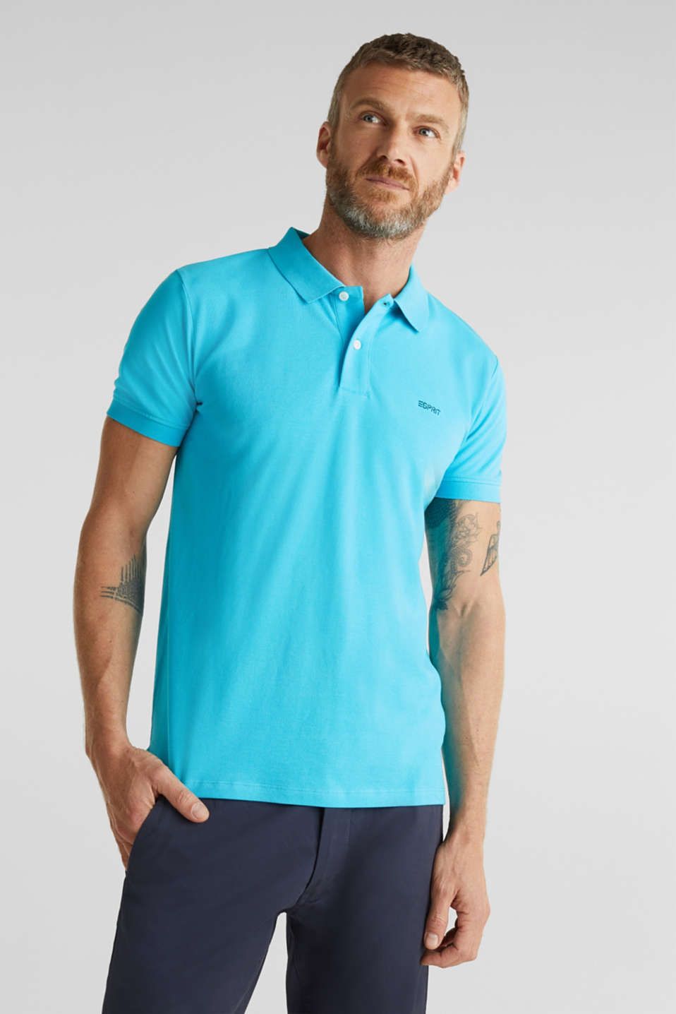 Piqué polo shirt, 100% organic cotton, AQUA GREEN, detail image number 0