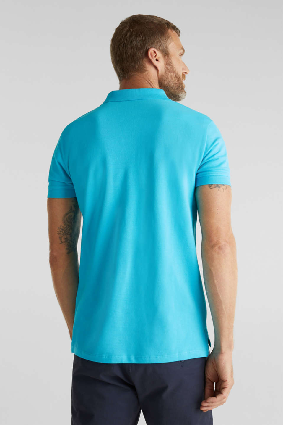 Piqué polo shirt, 100% organic cotton, AQUA GREEN, detail image number 3