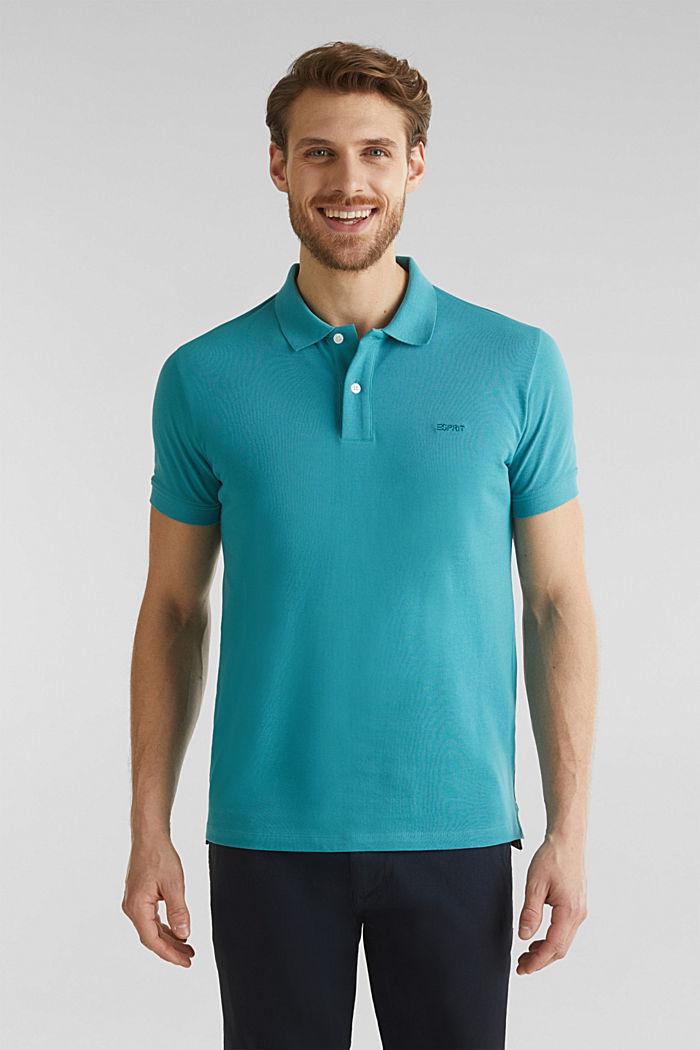Piqué-Poloshirt, 100% Organic Cotton, TEAL BLUE, detail image number 0