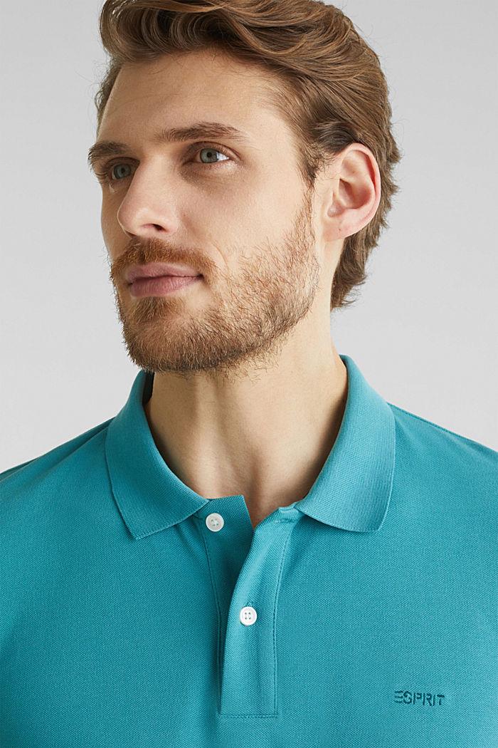 Piqué-Poloshirt, 100% Organic Cotton, TEAL BLUE, detail image number 1