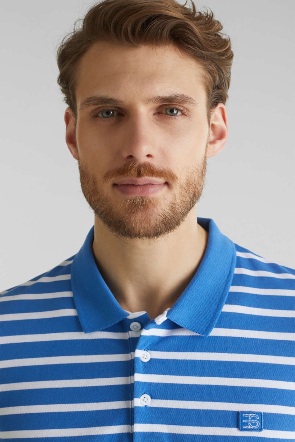 Piqué polo shirt in 100% cotton, BLUE 3, detail image number 1