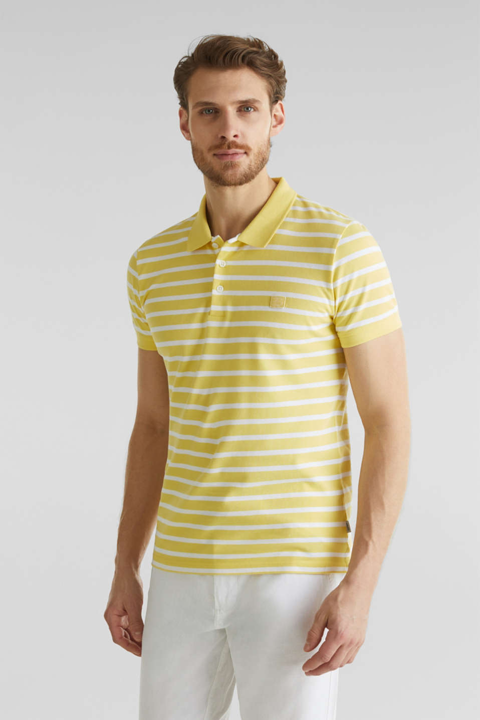 Piqué polo shirt in 100% cotton, LIGHT YELLOW 3, detail image number 4