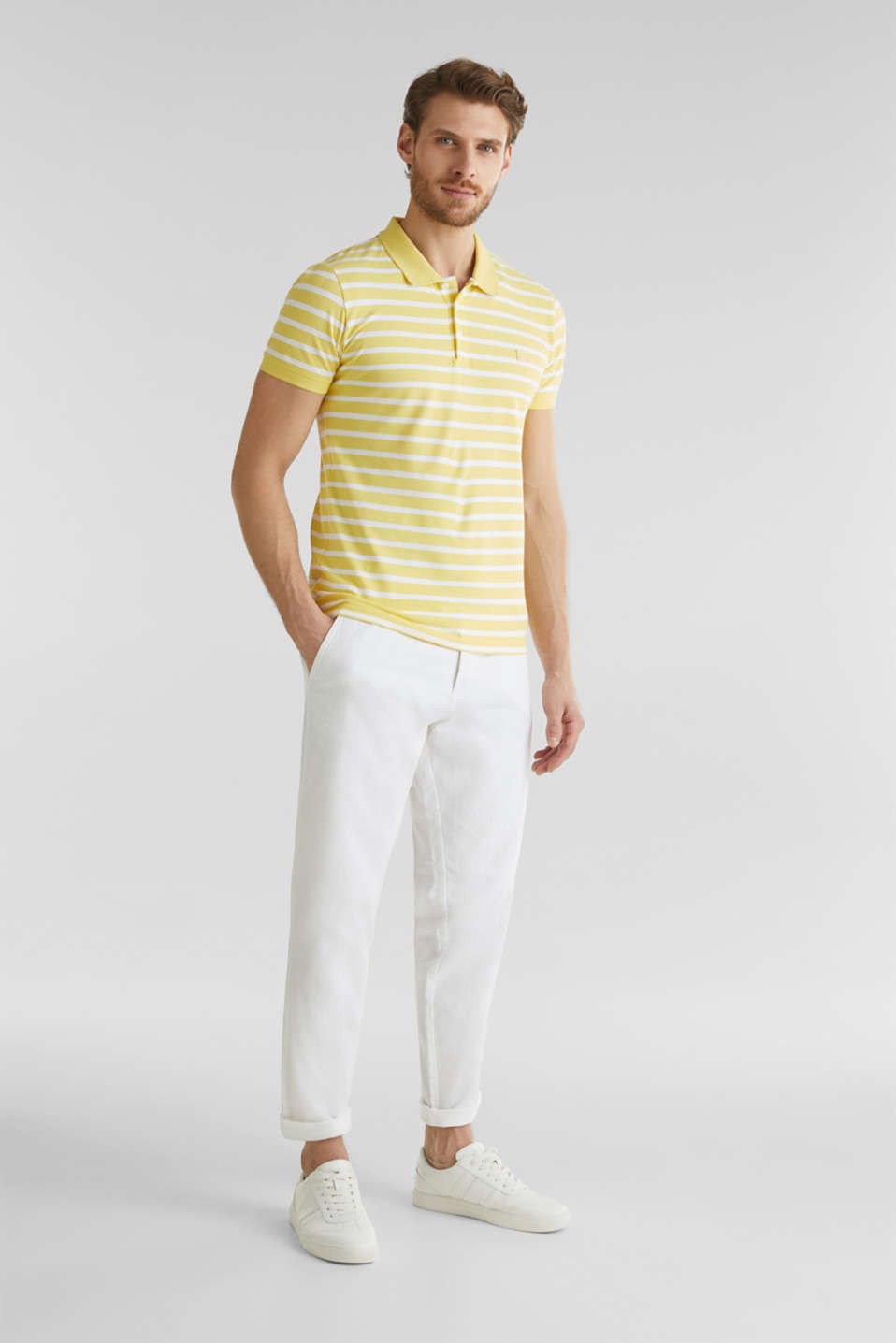 Piqué polo shirt in 100% cotton, LIGHT YELLOW 3, detail image number 2