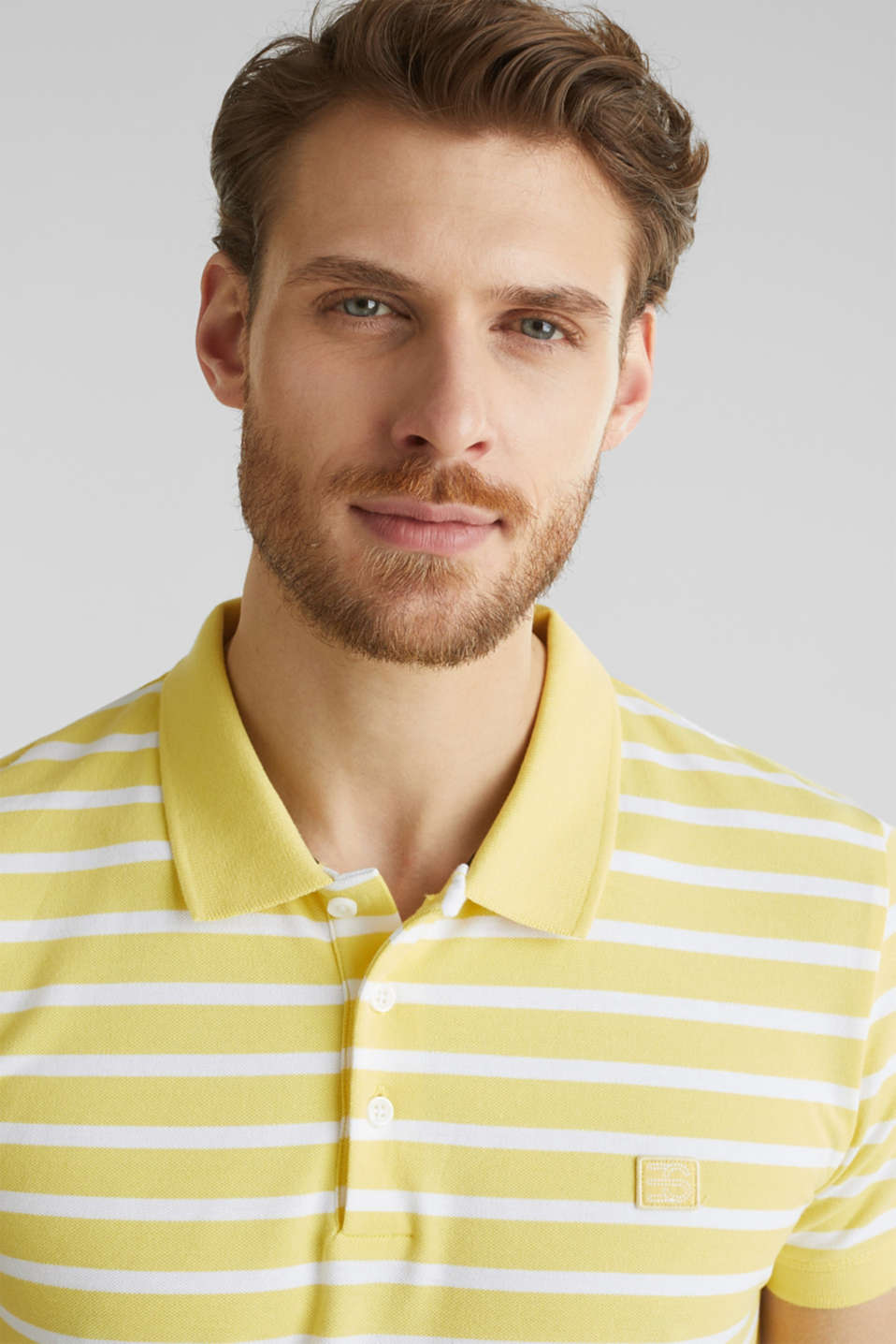 Piqué polo shirt in 100% cotton, LIGHT YELLOW 3, detail image number 1