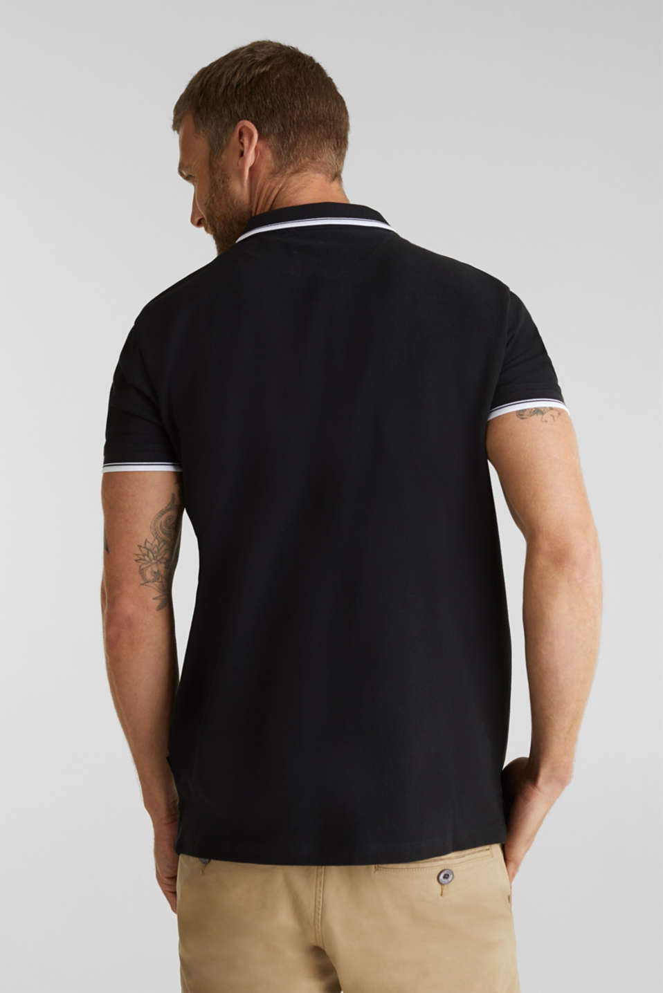 Piqué polo shirt in 100% cotton, BLACK, detail image number 3