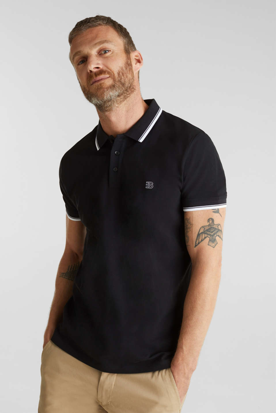 Piqué polo shirt in 100% cotton, BLACK, detail image number 4