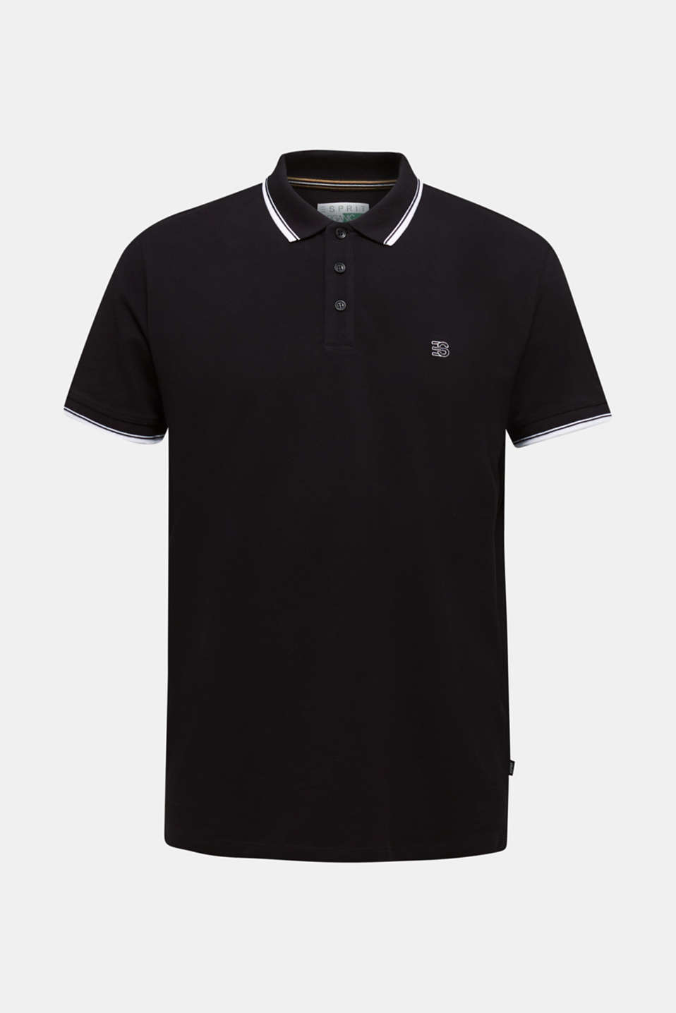 Piqué polo shirt in 100% cotton, BLACK, detail image number 7