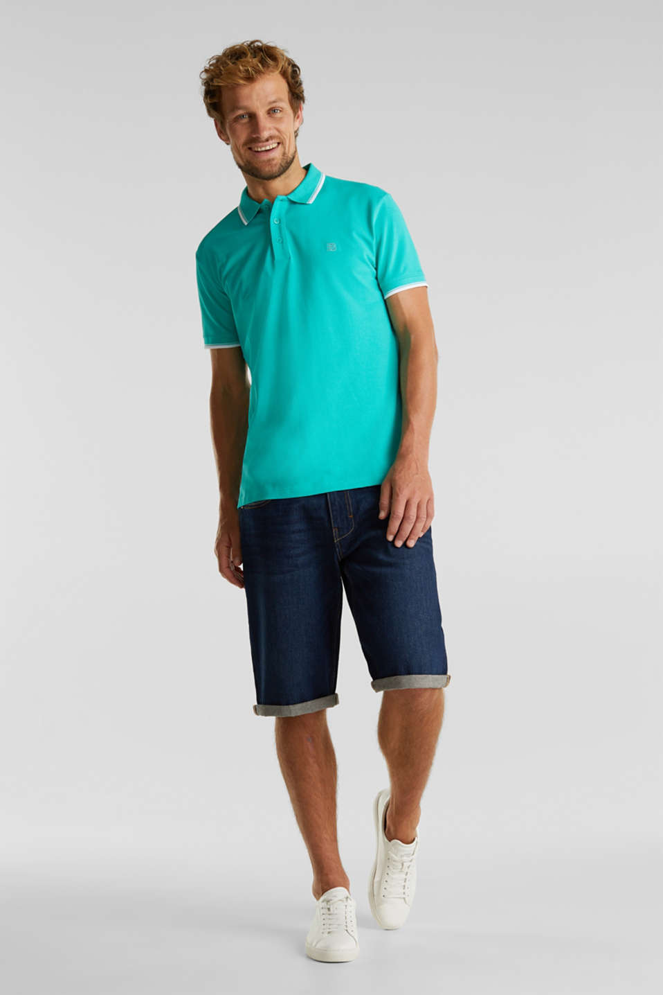 Piqué polo shirt in 100% cotton, AQUA GREEN, detail image number 2