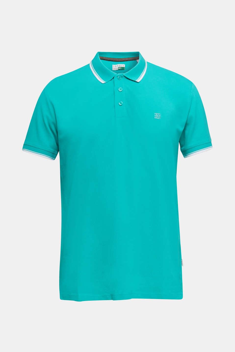 Piqué polo shirt in 100% cotton, AQUA GREEN, detail image number 6
