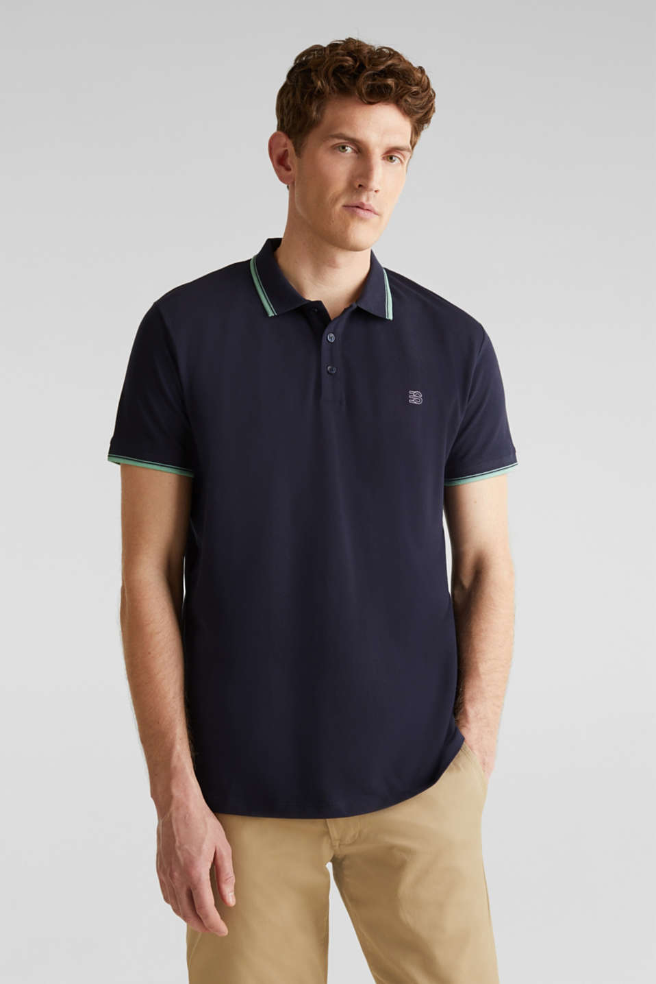 Piqué polo shirt in 100% cotton, NAVY 2, detail image number 0