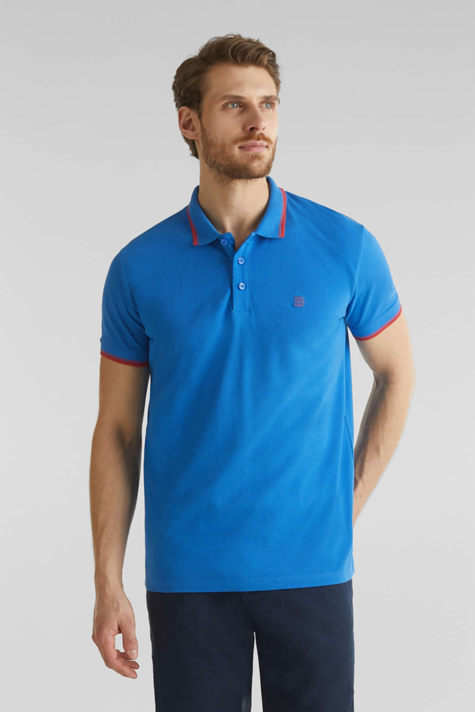 Piqué polo shirt in 100% cotton, BLUE 2, detail image number 0